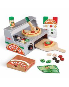 Spielzeug-Ladentheke mit Pizzaofen und Zubehör