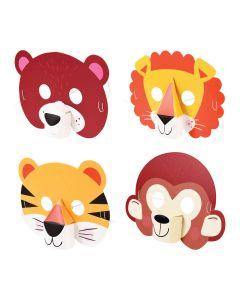 Tiermasken für Kinder aus bunter Pappe