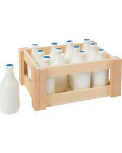 Spielset Milchflaschen in Holzkiste