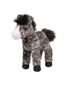kleines Plüschpferdchen mit schwarz-grau-weißem Fell