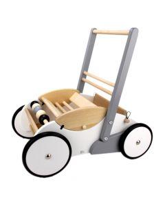 Kinderlaufwagen weiss-grau aus Holz