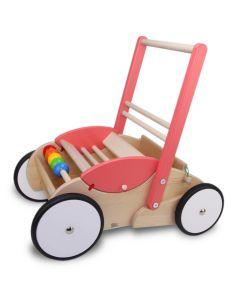 Bajo Lauflerwagen Rosa-Lachs aus lackiertem Holz in der Farbe Rosa-Lachs