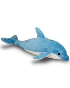 Plüschtier Delfin in  Aquamarin-blau mit Glitzer.