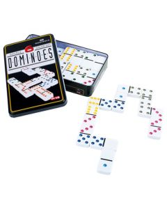 Domino mit weissen Steinen in Metallbox
