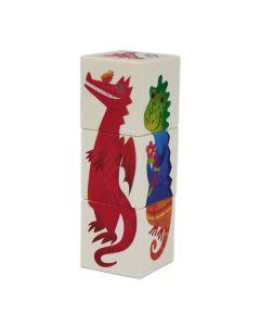 Drehspiel Holzwürfelpuzzle mit Drachen-Motiven