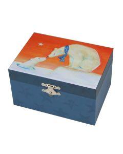 Kinder-Schmuckschatulle in Blau mit Eisbärmotiven