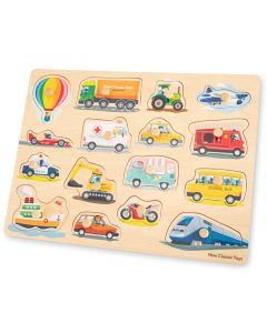 großes Holz-Steckpuzzle mit Hintergrundbildern zum Thema Fahrzeuge