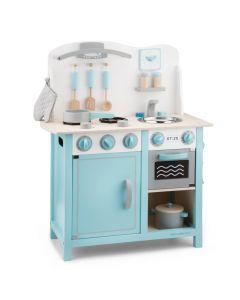 Kinderküche aus Holz in Blau und Weiß