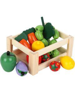 Kiste gefüllt mit Spielzeug Obst und Gemüse aus Holz