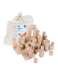 Holzbauklötze unbehandel im Beutel