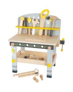 kompakte Holz-Werkbank für Kinder mit Spiel-Kinderwerkzeug