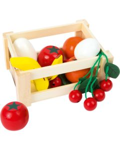 kleine Kiste mit Holzlebensmitteln