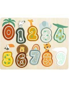 Holz-Lernpuzzle Zahlen 0 - 9 im trendigen Safari-Style