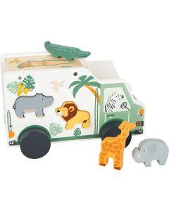 Safari Spielauto aus Holz und Steckspiel mit Tieren