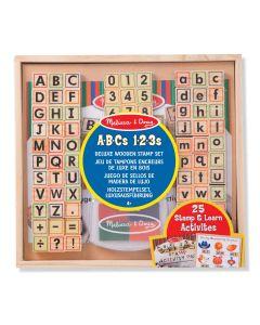 Kinderstempel-Set ABC und 123 im Holzkasten