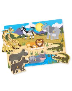 """Steckpuzzle """"Safari"""", farbenfrohes Holzpuzzle für Kinder ab 2 Jahren"""