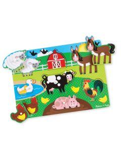 Holz-Steckpuzzle Bauernhof mit 8 Puzzleteilen zum Einsetzen