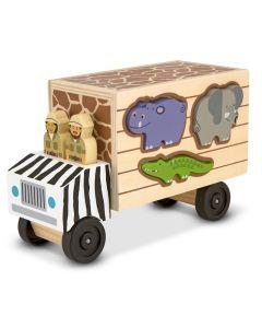 Safari Holz-LKW Tiere - Steckspiel