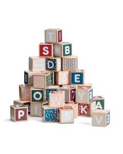36 bunte Holzbauklötze mit Buchstaben und Zahlen