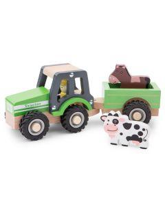 Spieltraktor und Anhänger mit Pferd und Kuh