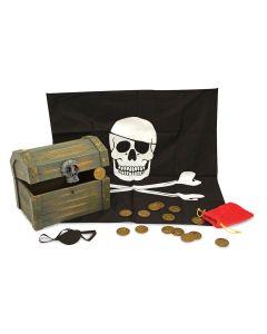 Piraten-Kostüm Zubehör mit Truhe und Accessoires