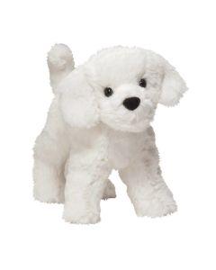 kleiner weißer Plüschhund