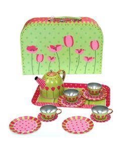 Metall-Spielgeeschirr mit Tulpenmuster im Koffer