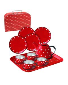 Puppen-Teeservice in Rot weiss gepunktet