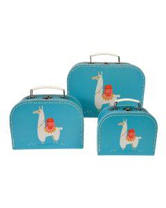 Kofferset DOLLY LLAMA 3-teilig in hellblau