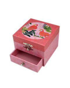 Musik-Schmuckkästchen in Rosa mit Papageien-Motiv
