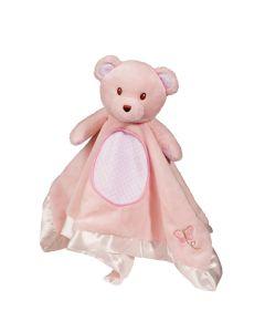 Rosafarbendes Kuscheltuch Bär