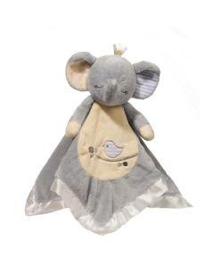 grau-beiges Kuscheltusch mit Elefantenkopf und Armen