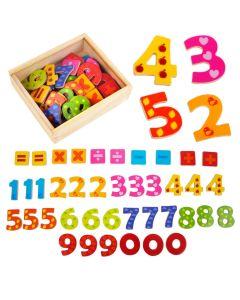Bunte Magnet-Zahlen aus Holz 40 Teile