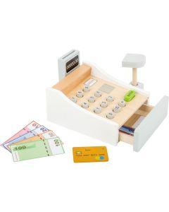 Holzspielzeug-Kasse in Weiß mit Zubehör