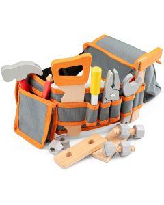Werkzeuggürtel grau-orange mit Holz-Werkzeug