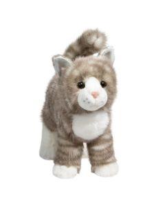 stehende grau-gemuster Stofftier Katze mit weißen Details